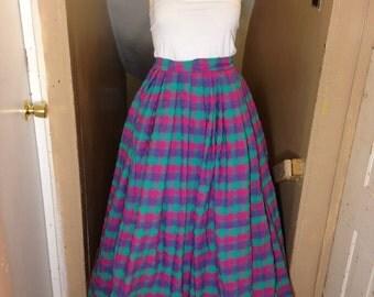 Plaid Green, Pink, and Purple 1860's Civil War Skirt