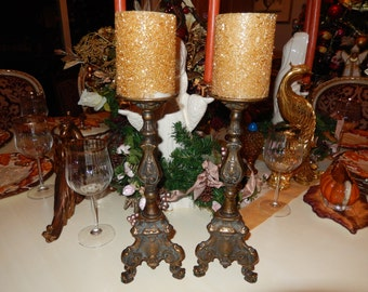 BRASS ORNATE CANDLE Holders
