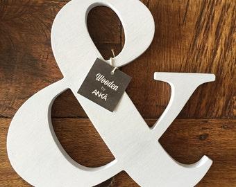 Light gray Ampersand, Wooden letter, freestanding wooden letter, shelf decor,Ampersand wood letter, & wood letter, wall decor, home decor