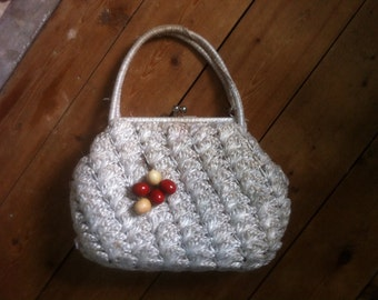 HOLIDAY SALE - Pretty little 1950s white straw bag with wooden cherries