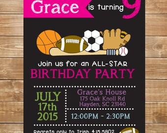 Girls Printable Sports Birthday Invitation, All Star Sports, Chalkboard Sports Party Invite, DIY, Girls Pink Sports, Birthday Invitation