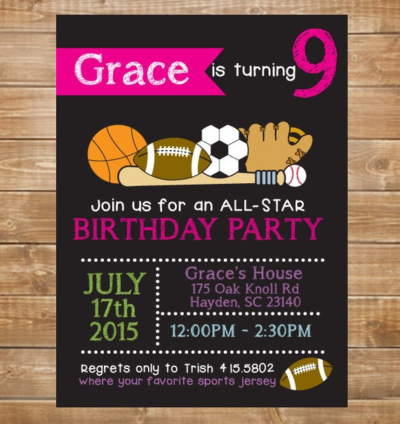 Girls Printable Sports Birthday Invitation All Star Sports – Sport Birthday Invitations