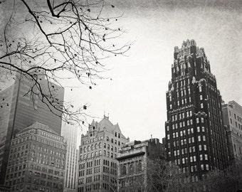 New York Photography, Black and White, Bryant Park, Radiator Building, NYC, Wall Art, Fine Art Print, Home Decor, Manhattan, Architecture