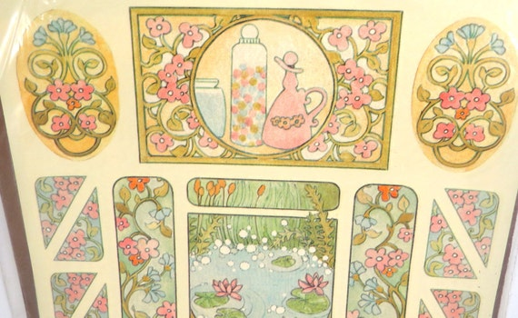 Bathing beauty bathroom decor art nouveau style meyercord for Telephone mural 1970