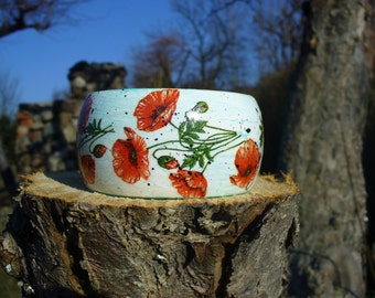Romantic bracelet decoupage, wooden bangle, bracelet with poppies.