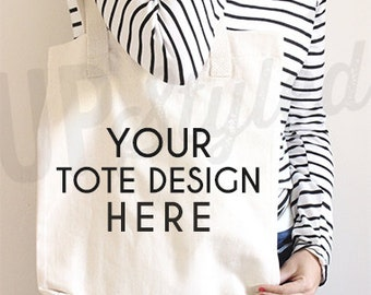 Canvas Tote Bag Styled Photograph Stock Photo - Product Photograph F170