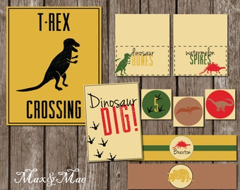 Dinosaur Party Decorations, Dinosaur Birthday Party Printables, T-Rex Crossing, Party Favor Tag, Dino Dig, Water Labels, Digital