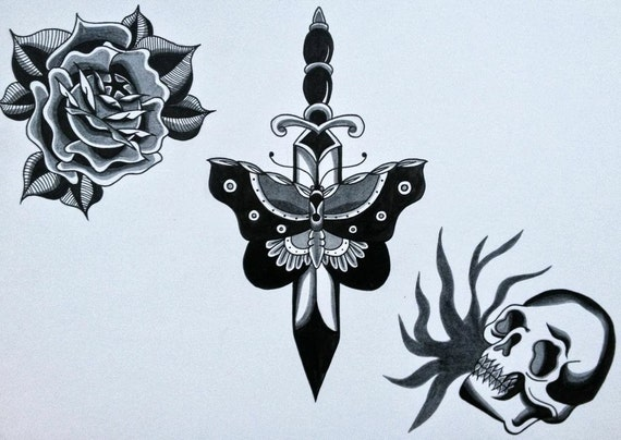 Traditional style tattoo flash board black and grey printed for Traditional black and grey tattoo