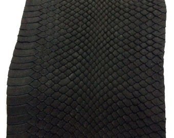 Matt Black Genuine water snake skin hide leather python