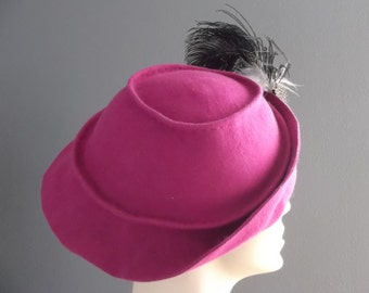 Fuchsia felt hand sculpted hat, hand blocked, molded and handstitched felt hat, fuchsia felt with black white brown feathers, feather spray