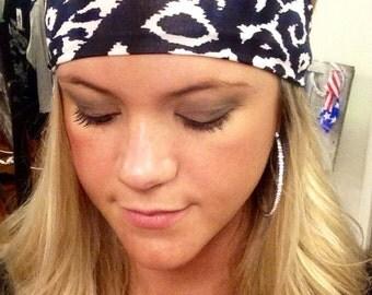 Aztec headband, tribal headband, black and white tribal print headband, spandex headband, aztec print