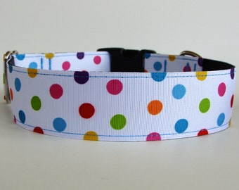 """Polka Dot Dog Collar - Large 1.5"""" wide - Ready to Ship!"""