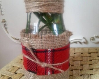 Eco rustic  tartan wool hessian small vase jar