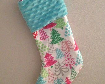 Aqua Christmas Trees - Christmas Stocking