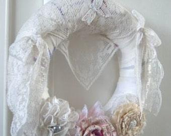 """Beautiful Handmade Shabby Chic Wreath - 10"""""""