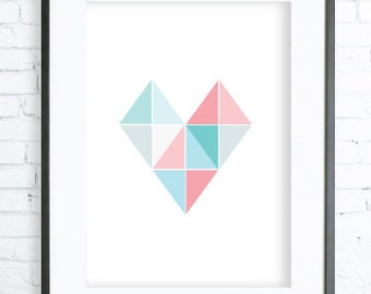 Instant Download Printable, Geometric Print Art, Turquoise & Pink Heart Printable, Digital print, Print  Art, Print, Yellow, Blue,Love Print