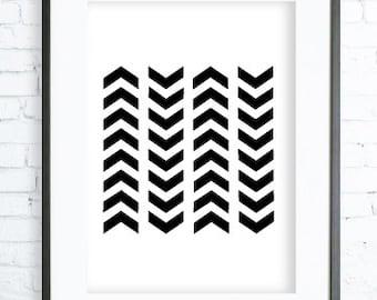 Black and White Chevrons, Geometric Print Art, Instant download printable, Chevrons Print, digital print, Chevrons wall art