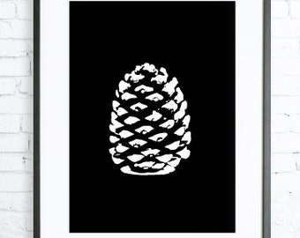 Black And White Decoration Wall Art, White Pine cone, Instant Download Printable, Nature Print art, Nature Wall art, Print, black & white