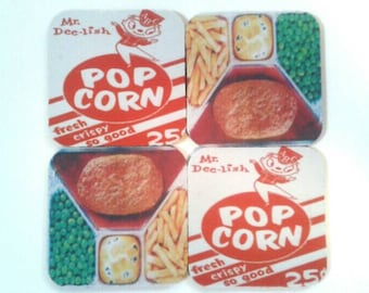 Assorted Set Of Four Rubber Coasters, Drink Coasters, TV Dinner Coasters,  Made By Mod.