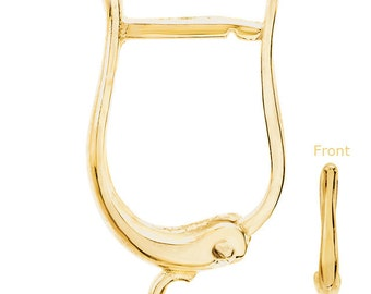 14kt Yellow Gold Horseshoe Style Lever Back Earring Wires Pair with Open Jump Ring