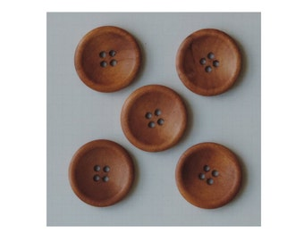 Vintage Stained Wooden Buttons, Extra Large Wood Buttons, 1.25 Inch