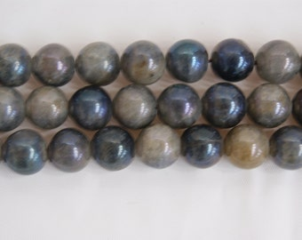 AB Labradorite Gray Smooth Round Shaped Gemstone Bead-12mm-15 inch strand-