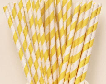 Paper Straws, 100 Yellow Stripe Paper Straws, Yellow Paper Straws, Bulk Paper Straws, Wholesale Paper Straws, Discount Straws, Striped Straw