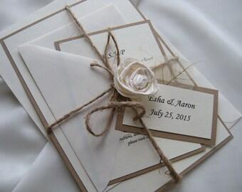 Rustic Wedding Invitation, Vintage Kraft Wedding Invitation, Burlap Wedding Invitation, Flower Invitation, Eco Invitation#2b