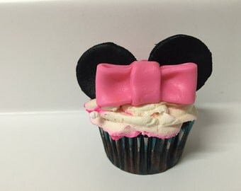 Fondant Minnie Mouse Ears and Bow Cupcake Toppers