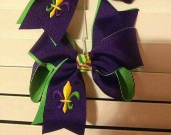 Mardi Gras Hair Bow w/ embroidered Fleur De Lis  Width approx. 6in