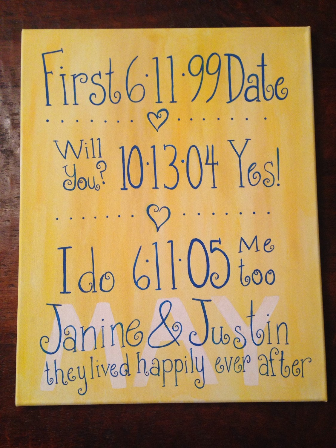 Wall Art With Wedding Date : First date proposal and wedding wall art
