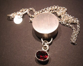 complex pendant with brilliant garnet, Sterling silver, red, pendant,chain,  birthday, anniversary, glitters, movable