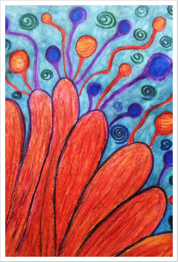 Antenna Flower - Psychadelic Fine Art Giclee Print for Decor and Decorating