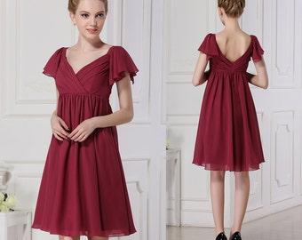 Short burgundy bridesmaid dresses,high waist bridesmaid dress, v-neck and cap sleeves chiffon bridesmaid dress, a-line/strapless prom dress