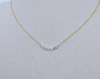 Silver Nuggets Gold Necklace, Mixed Metals, Gold chain, Sterling Silver Nuggets