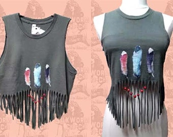 FRINGE CROP TANK Upcycled Tee Feather Graphic- size Small