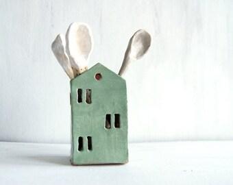 Ceramic House-Utensil Holder-Kitchen Organizer-Ceramics And Pottery