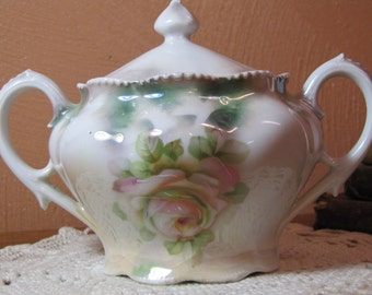 Vintage Covered Sugar Dish - Hand Painted Rose Pattern