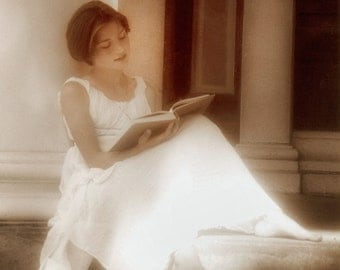 "Fine Art Photograph,Young girl reading,Limited Edition, Photograph, Sepia Toned, Peaceful Image,Soft,Giclee,"" Timeless Moment"""