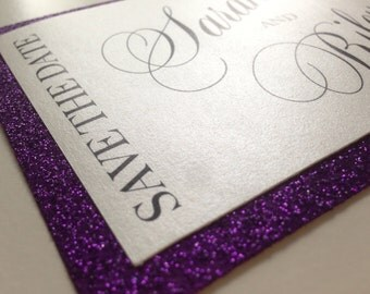 Bold, Elegant Glitter Save-The-Date