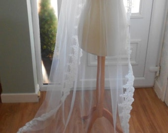 Pure 'Crisp' Silk Ivory Wedding Veil with a Choice of Lace Edgings and Lengths
