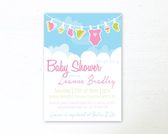 Baby Shower Invitations Digital Download Baby Shower Invite Clothes Line 5X7 Baby Shower Stationary Digital File