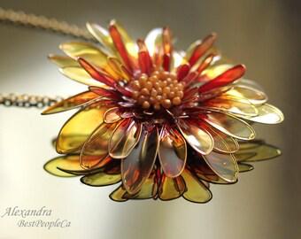 OOAK, Summer Necklace, Chrysanthemum, Lightweight,  Transparent, Gold, Yellow ,Red,  20 inch chain, Sunny Flower