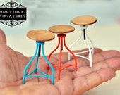 Dollhouse Miniatures Handmade,3x American Iron Barstool, rotating,bar iron stools, modern revolving stool