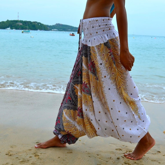 Thai Harem Pants Hippie Jasmine Jumpsuit Trousers Genie New Gypsy Bohemian Festival Boho Chic White