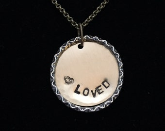 """Hand Stamped """"Loved"""" Charm Necklace"""