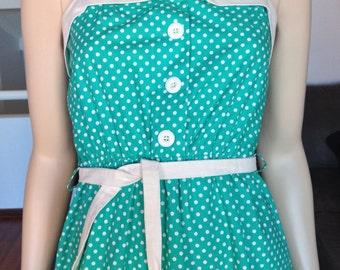 Vintage/Retro Green White Poka Dot Sun Dress Size 10AU