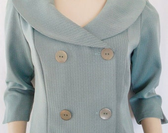 Vintage Green 3/4 Sleeve Swing Jacket with Peter Pan Collar Large Buttons