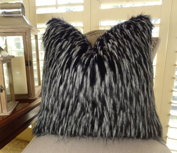 Black White Fur Throw Pillow Wolf Faux Fur Pillow Cover