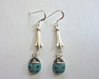 Silver and Aqua Enamel Ladybug Earrings with Fish Hooks